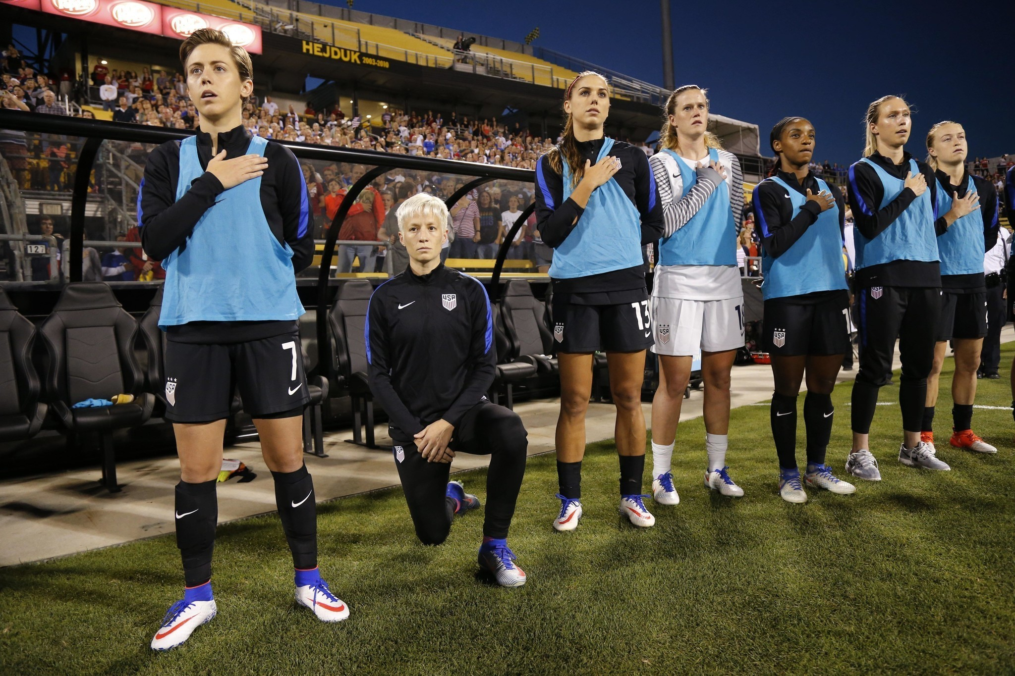 29ca33e3d ... Jerseys Unveiled - U.S. Soccer Megan Rapinoe draws the ire of U.S.  soccer by kneeling during the anthem before a national ...