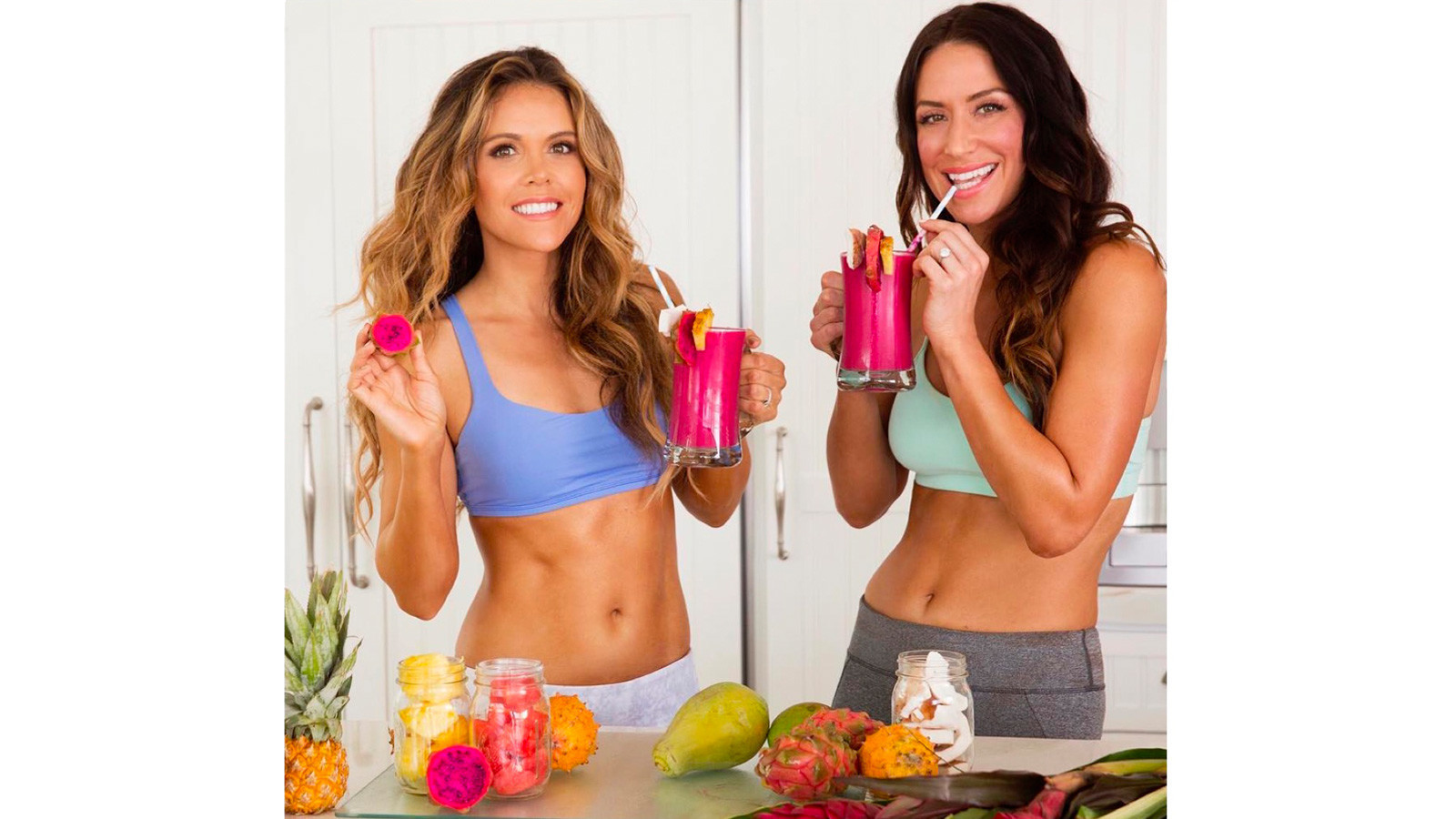 Katrina Scott, left, and Karena Dawn can be seen on @toneitup.