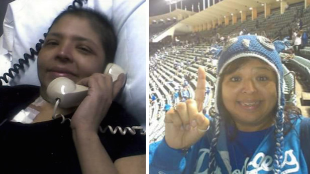 She's a Dodgers fan in sickness and in health. (Courtesy of Dolores Anguiano-Torres)