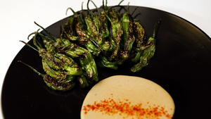 Shishito peppers with tonnato and huamei
