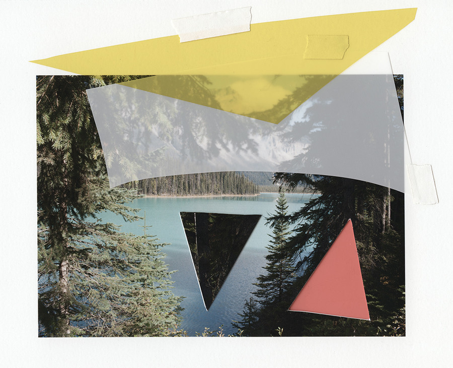 "Katie Shapiro's ""Emerald Lake Cutout,"" 2016, archival print, colored photographic gels, archival artists tape."