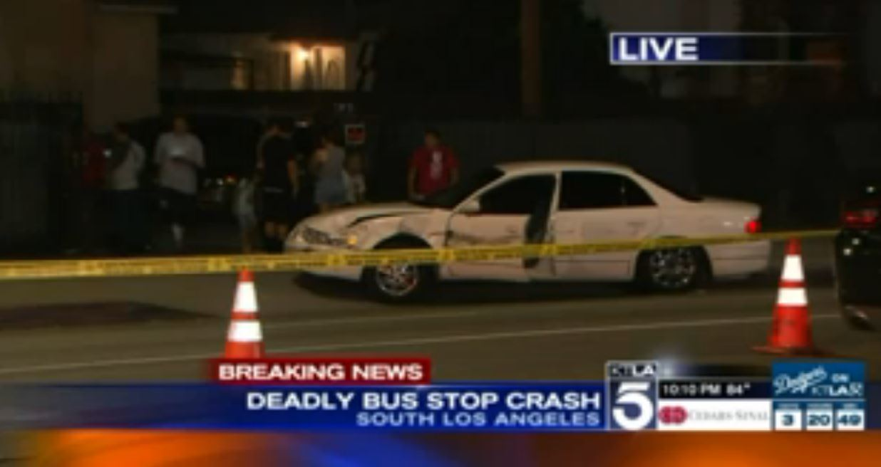 Car Crashes Into Bus Stop Los Angeles