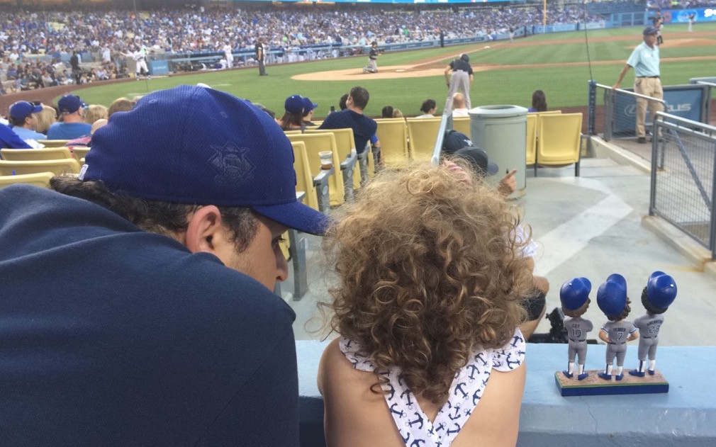 Alex Chazen takes his daughter, Coco, to her first Dodgers game in July 2016.