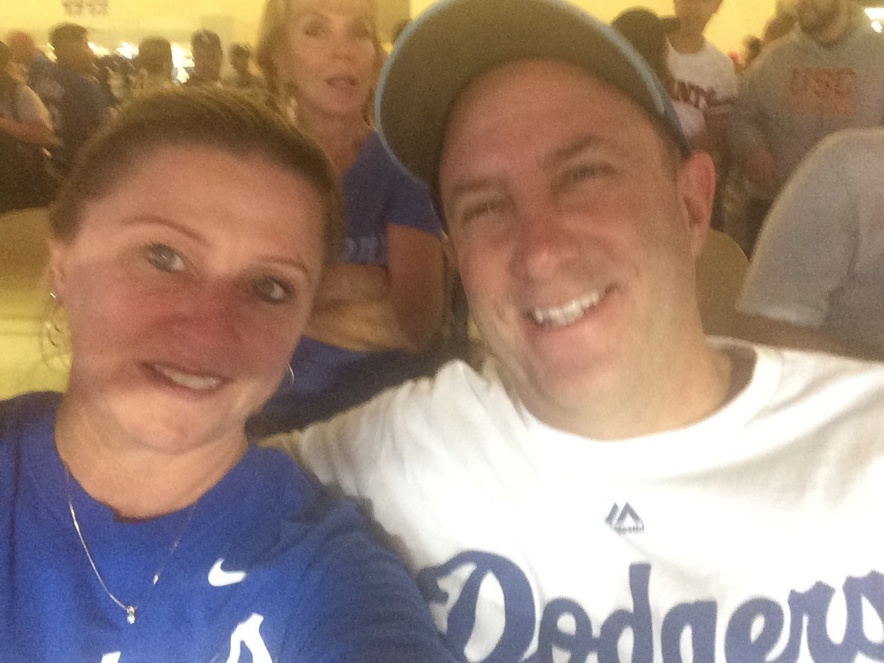 Rich Heisen and his wife, Kerry, attend a Dodgers game in September.