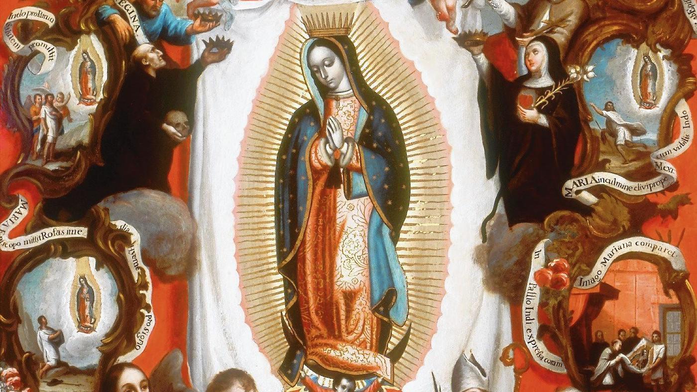 """""""Exaltacin del Patronato de la Virgen de Guadalupe,"""" an 18th-century oil on copper painting attributed to Jos de Alcbar."""