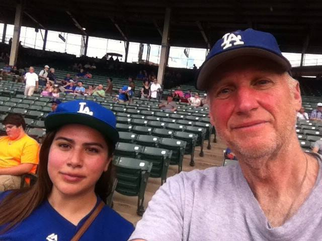 Michael Amodei with his daughter, Ellen Amodei, during his 50th straight year seeing the Dodgers play in person.