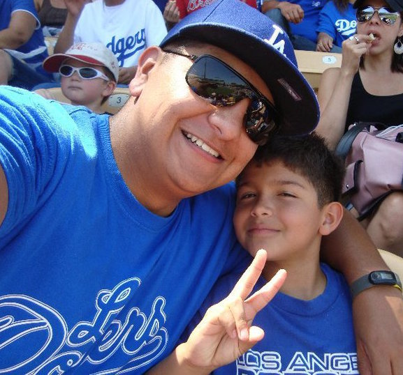 Andrew Del Toro with his son at Dodger Stadium before deploying to Afghanistan.