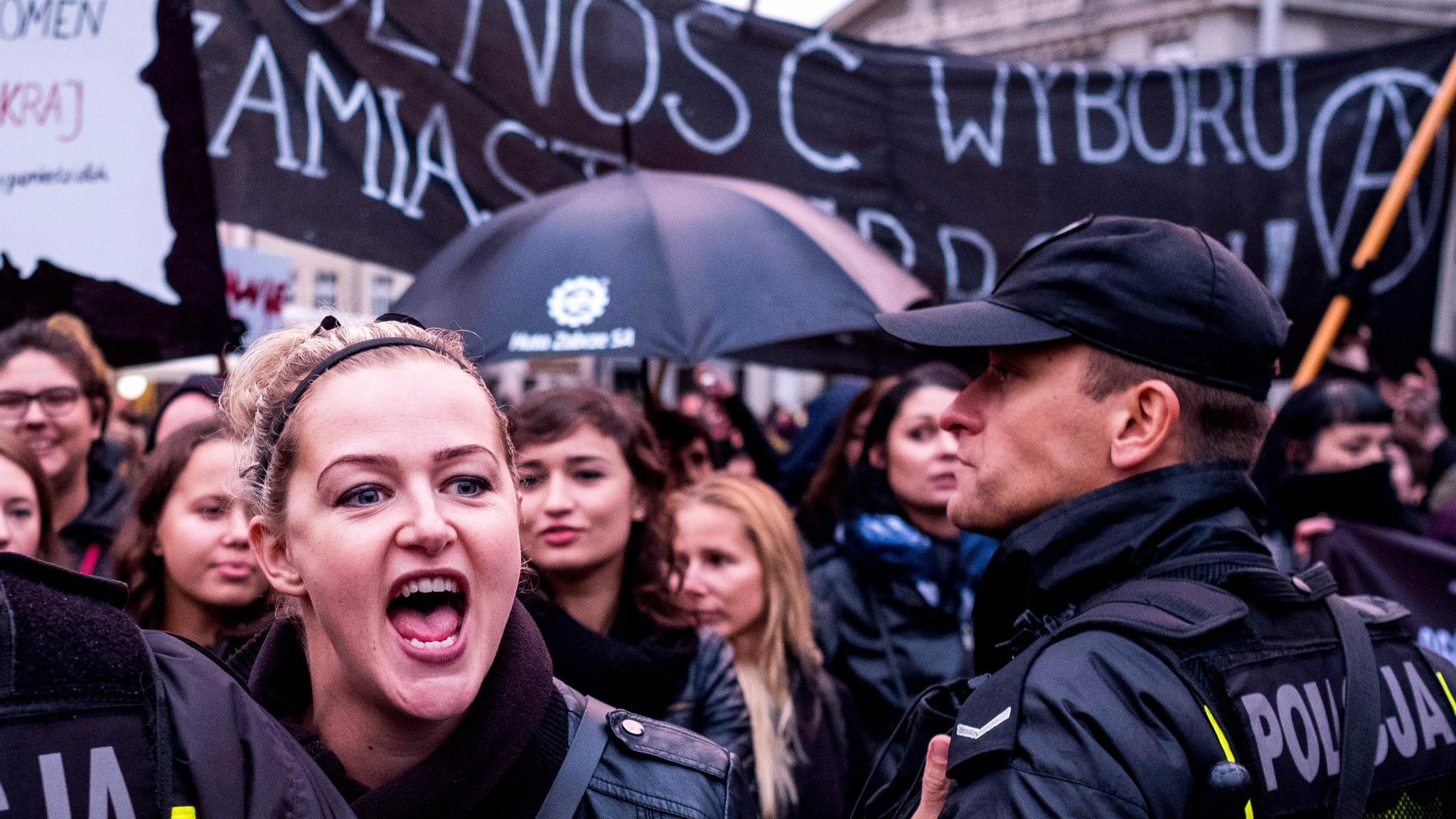 Thousands of workers take to the streets of Katowice, Poland, to protest a proposed abortion law.