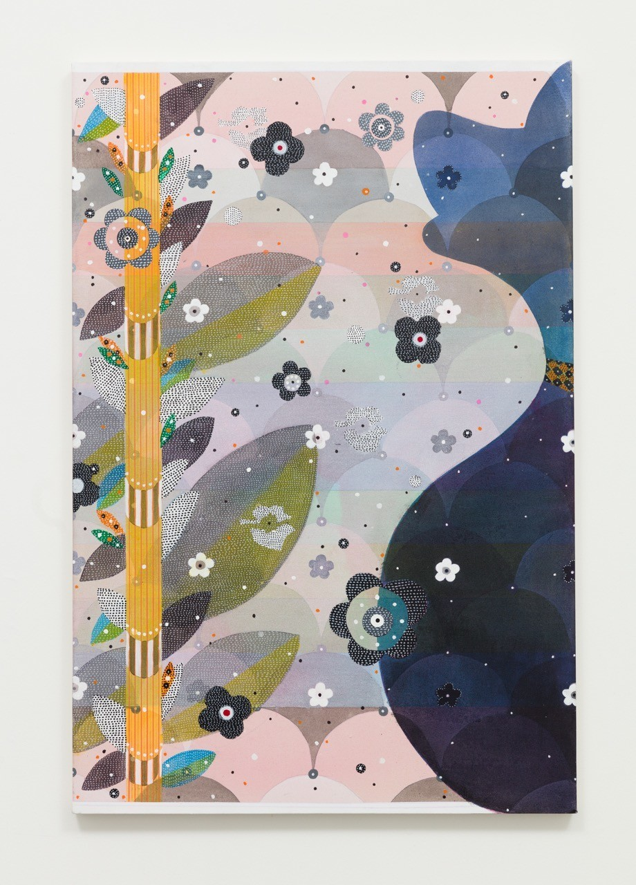 """Glenn Goldberg's """"Okay (blue),"""" 2016, acrylic, gesso, ink and pencil on canvas, 60 inches by 40 inches."""
