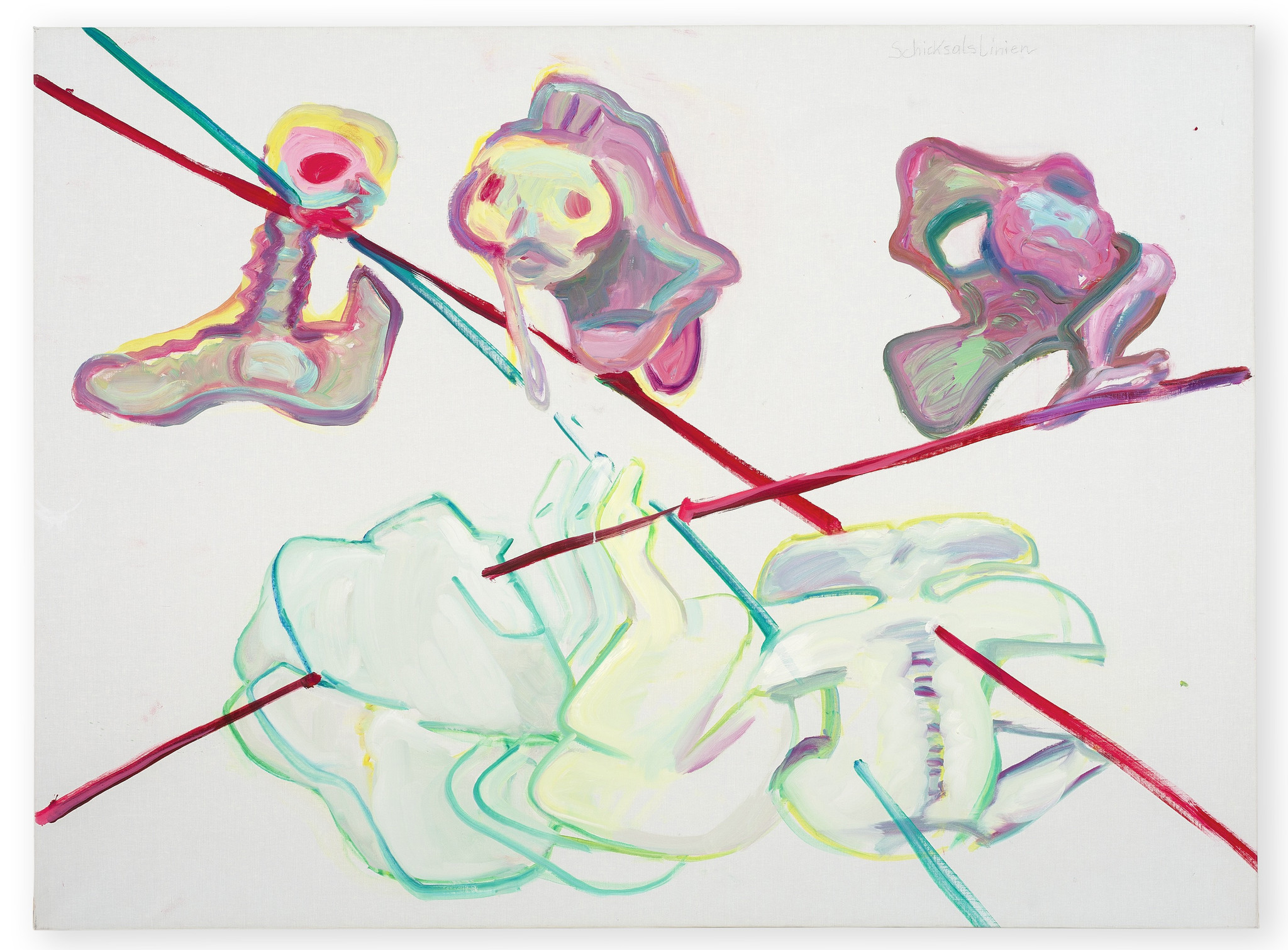"""Maria Lassnig's """"Lines of Fate/Re-lations VIII,"""" 1994, oil on canvas, 59 inches by 893/4 inches."""