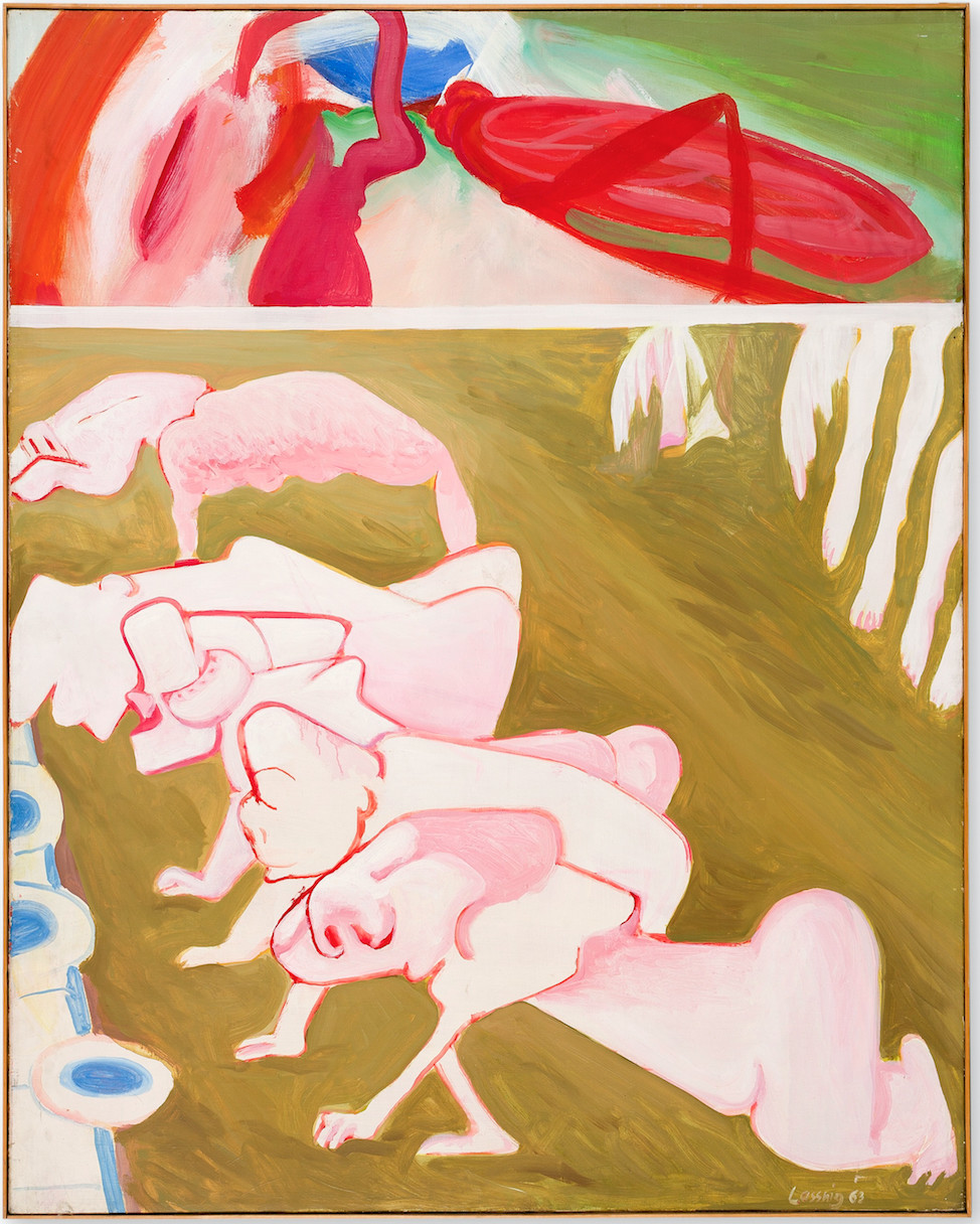"""Maria Lassnig's """"The Earthly Race,"""" 1963, oil on canvas, 63 5/8 inches by 51 1/8 inches."""