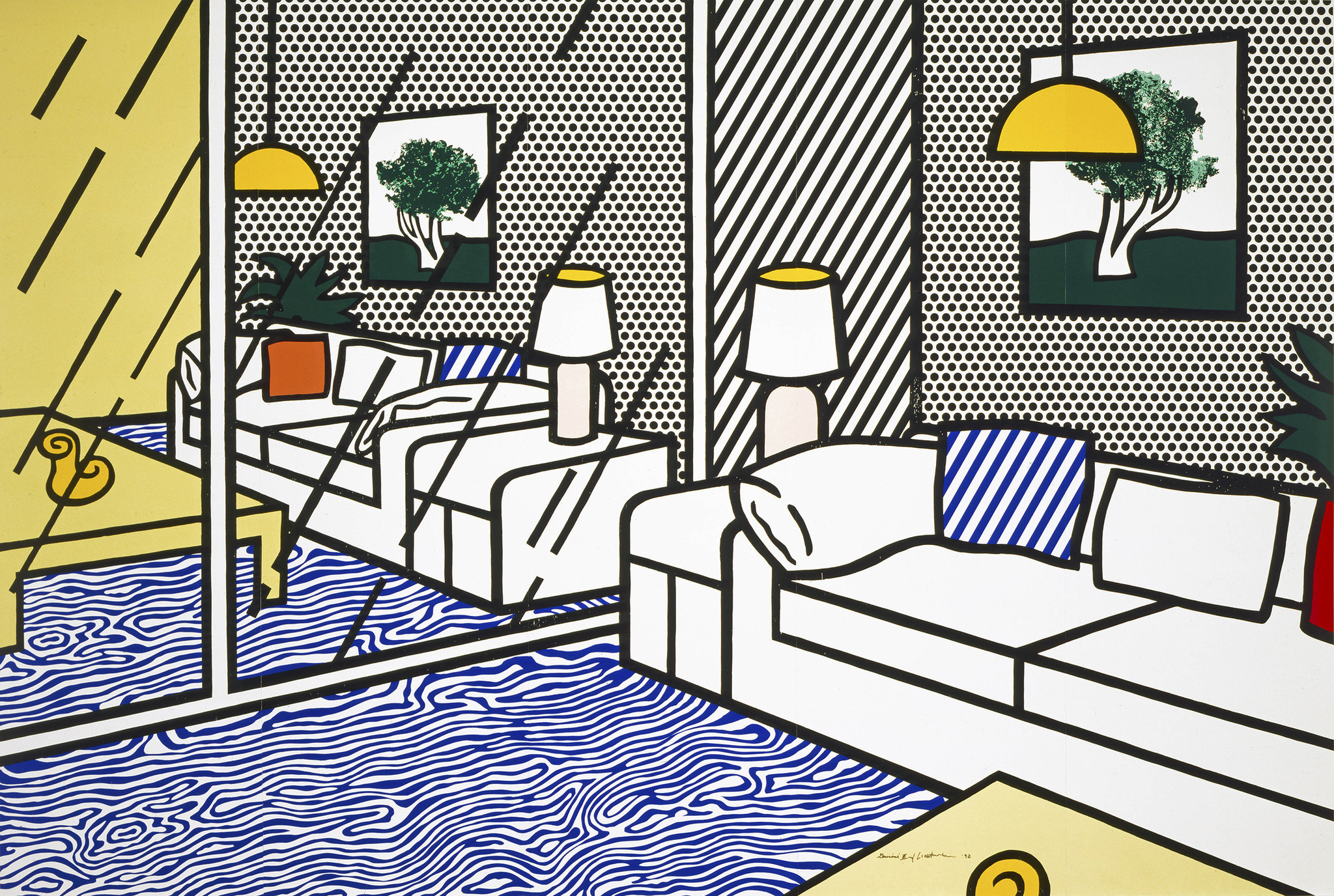 """""""Wallpaper With Blue Floor Interior,"""" 1992, by Roy Lichtenstein, part of a retrospective devoted to the artist at the Skirball Cultural Center."""