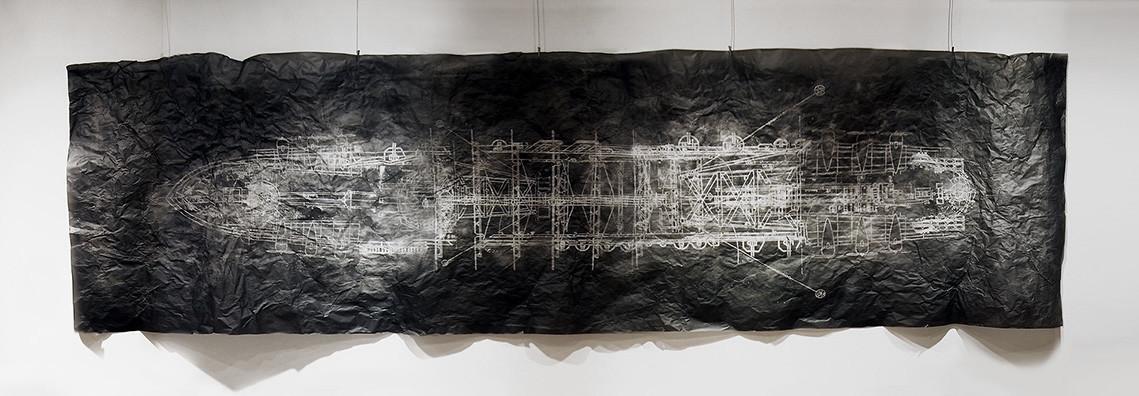 """""""Coral Sea (Heavy Fog),"""" 2015, by Kio Griffith, at BLAM."""