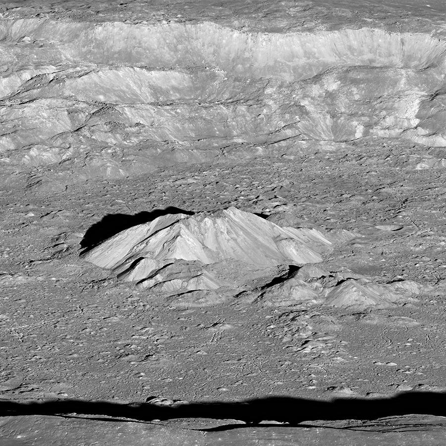 Oblique view of the moon's Tycho crater looking from east to west.