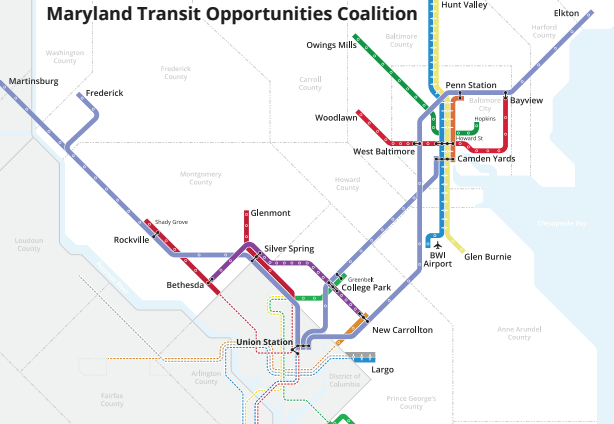bal-maryland-transit-opportunities-coalition-s-map-20161011 Map Of The Subway System Maryland on train map of maryland, tourist map of maryland, blank map of maryland,