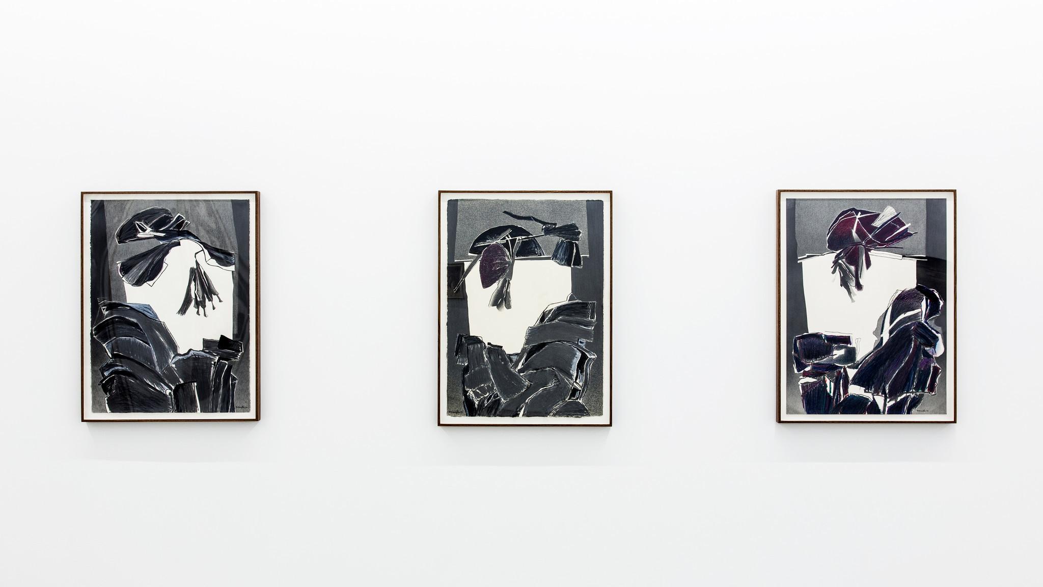 "An installation view of ""Deborah Remington: A Life in Drawing, 1950"" at Parrasch Heijnen."