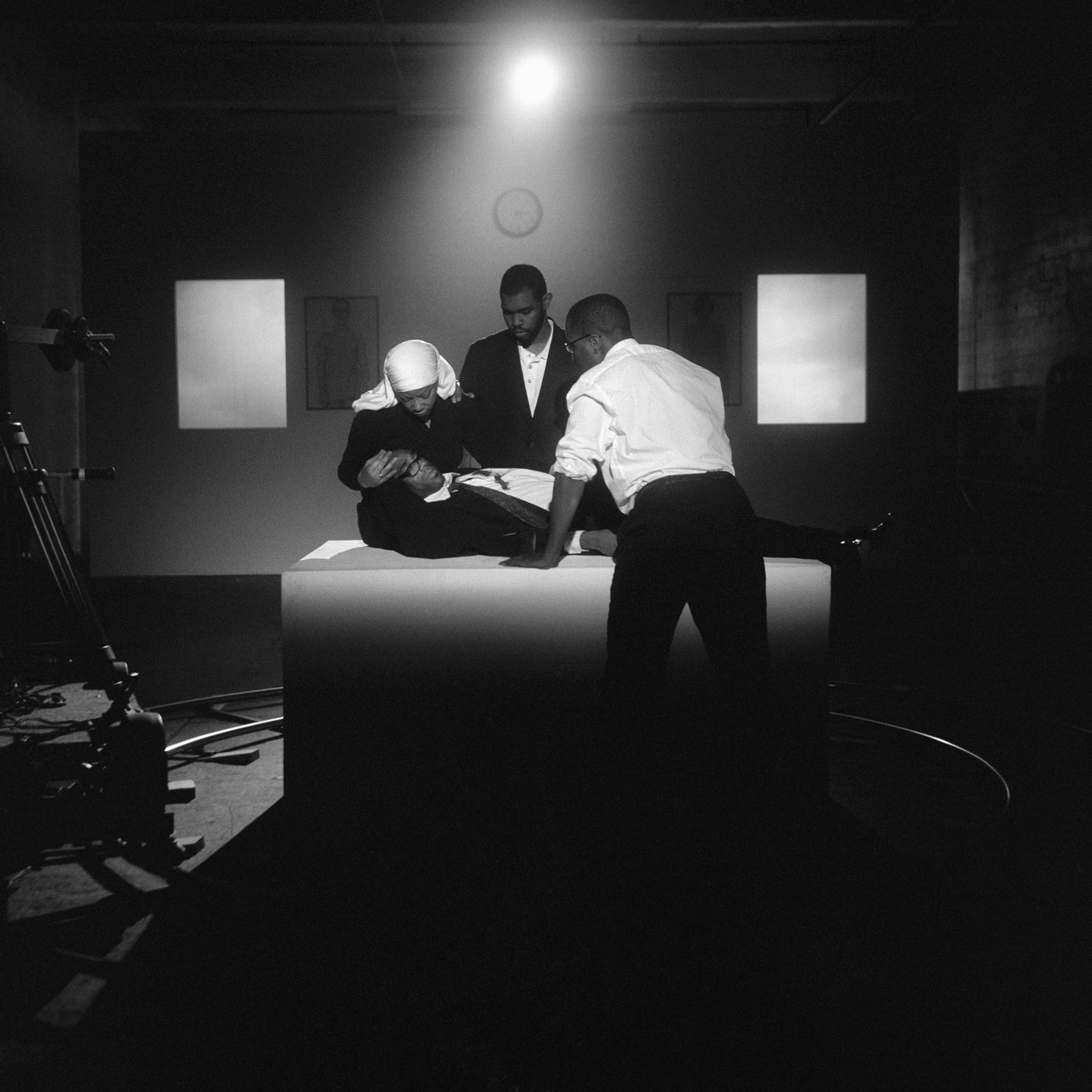 """""""The Assassination of Medgar, Malcolm, and Martin,"""" 2008, an archival pigment print by Carrie Mae Weems, provides a contemporary view of the Black Panther Party."""