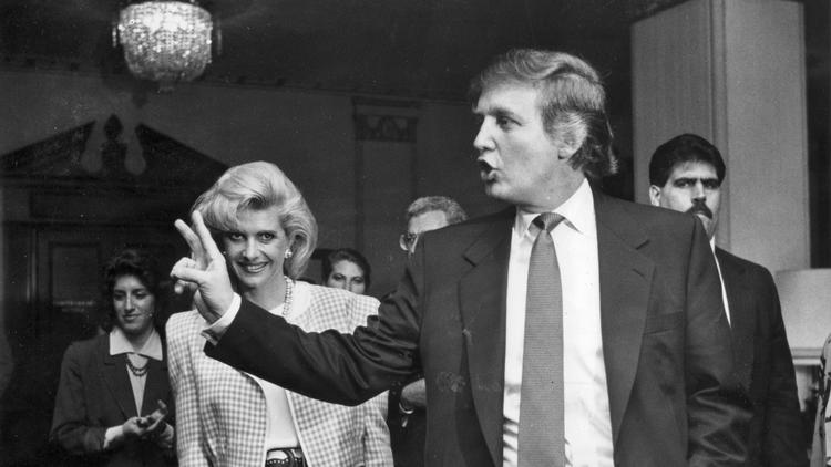 Donald Trump leaves a news conference with wife Ivana on Jan. 13, 1990, after announcing that he had purchased an interest in the Ambassador Hotel in Los Angeles.