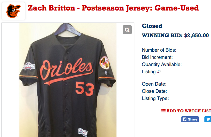 timeless design 42c0b f7652 Orioles closer Zach Britton's 'game-used' postseason jersey ...