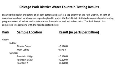 Read: Chicago Park District water fountain testing results