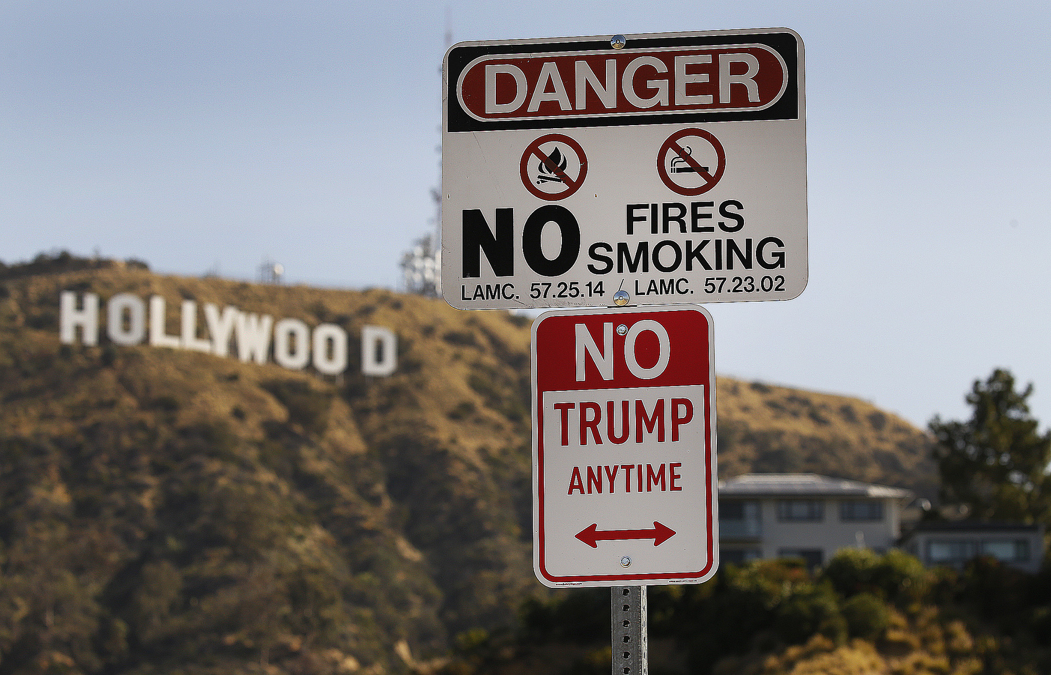 """The art installation """"No Trump Anytime"""" disguised as a parking sign in Hollywood."""