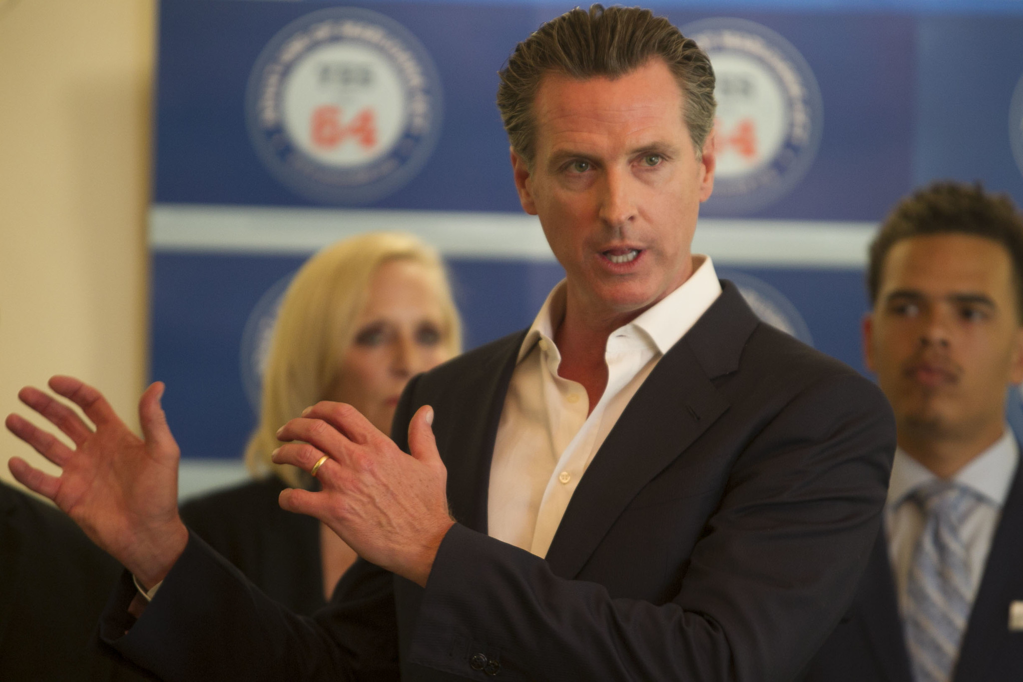 California Lt. Gov. Gavin Newsom speaks at news conference supporting Proposition 64, the Adult Marijuana Act, at Liberty Station on Oct. 13.