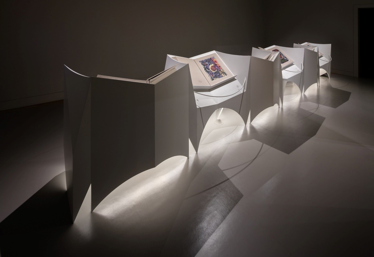 "Installation view of ""Lari Pittman: Mood Books"" at the Huntington."