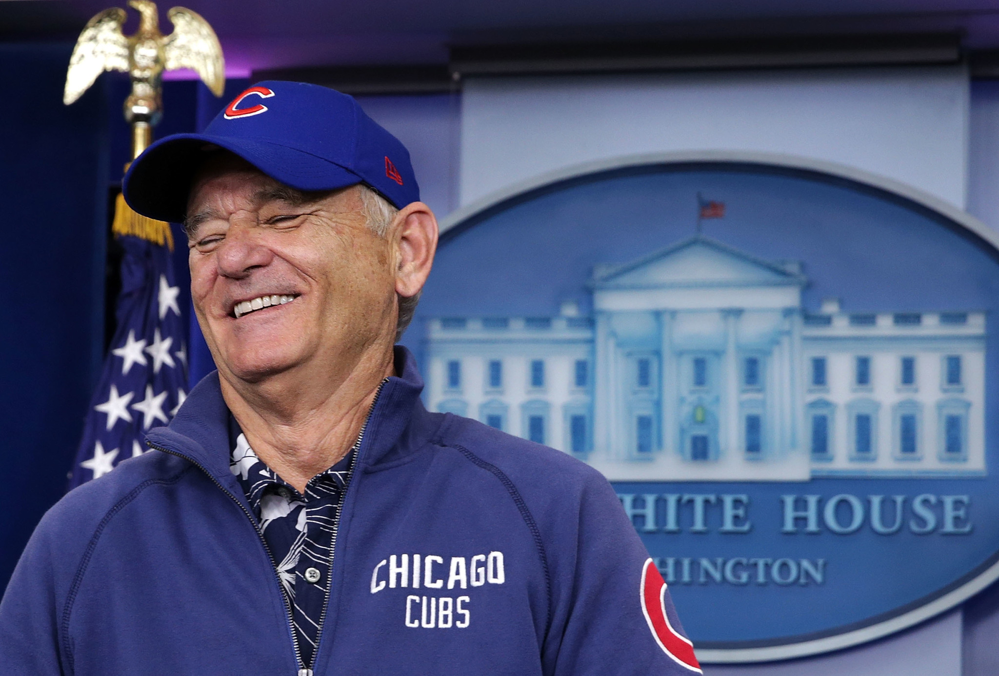 Bill Murray Wearing A Cubs Hat Crashes White House Press