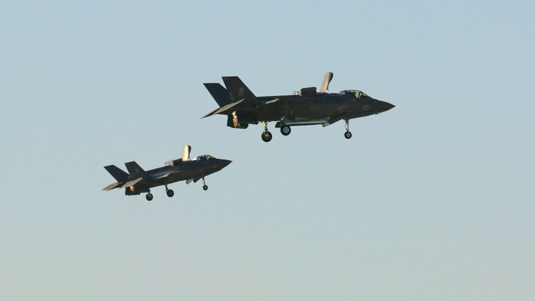 Two F-35B jets prepare to land at the Marine air base in Yuma on Oct. 20, 2016.