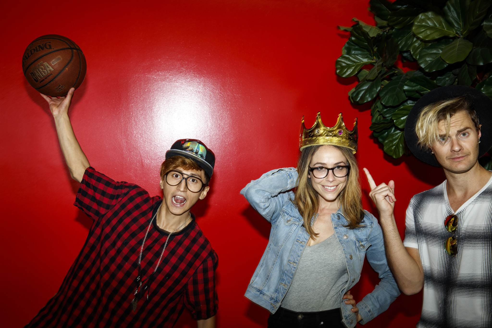 George Padilla, Shira Lazar and Bart Baker, from left, all regular content creators and avid users of the social app Musical.ly, pose for portraits during a visit to company's Santa Monica office.