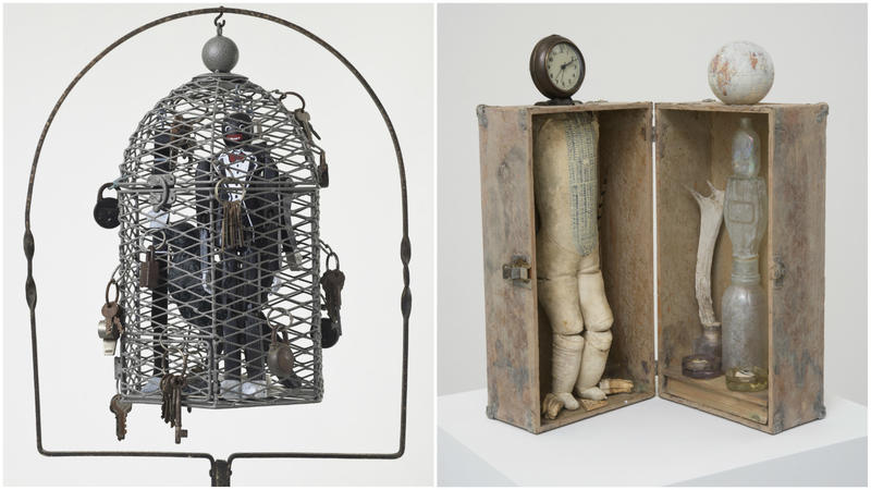 """Betye Saar's """"Serving Time,"""" 2010, left, and """"Searching for a Vision of Truth,"""" 2016."""