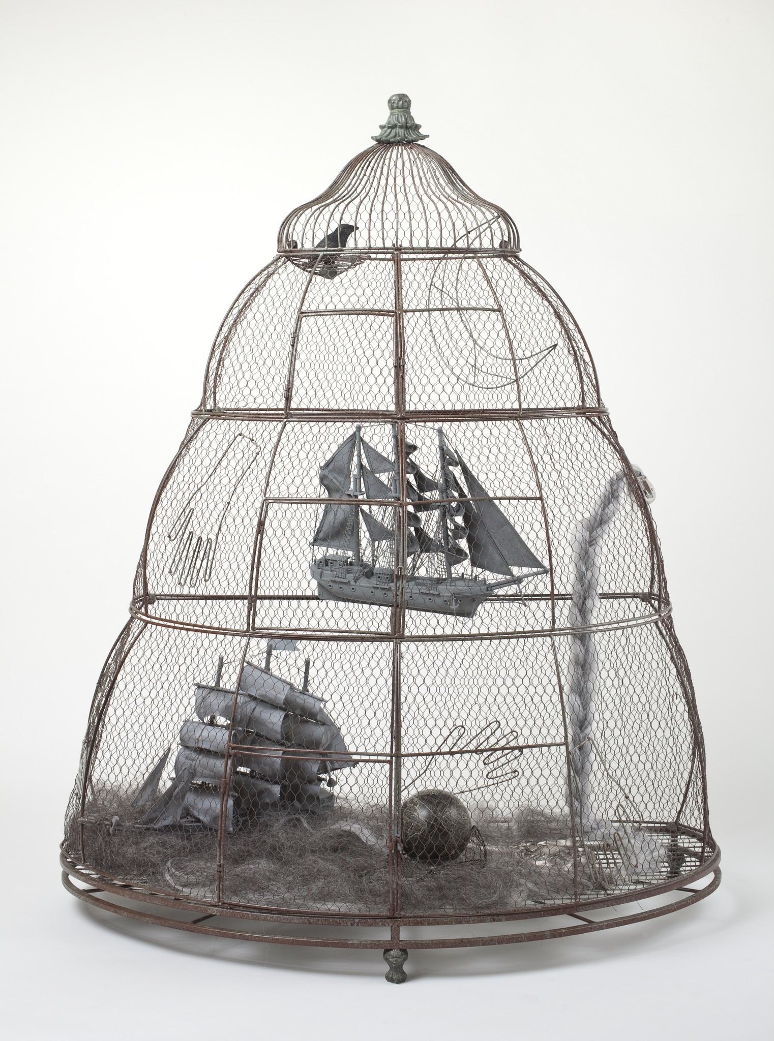 """Betye Saar's """"The Destiny of Latitude & Longitude,"""" 2010, mixed media assemblage, 54 by 43 inches."""