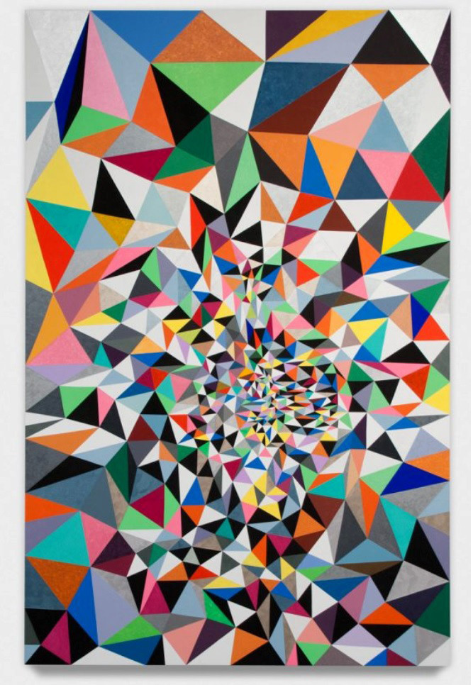 """Gary Lang's """"Snaking Whim Wham 1,"""" 2012, acrylic on canvas, 8 feet by 5 feet."""