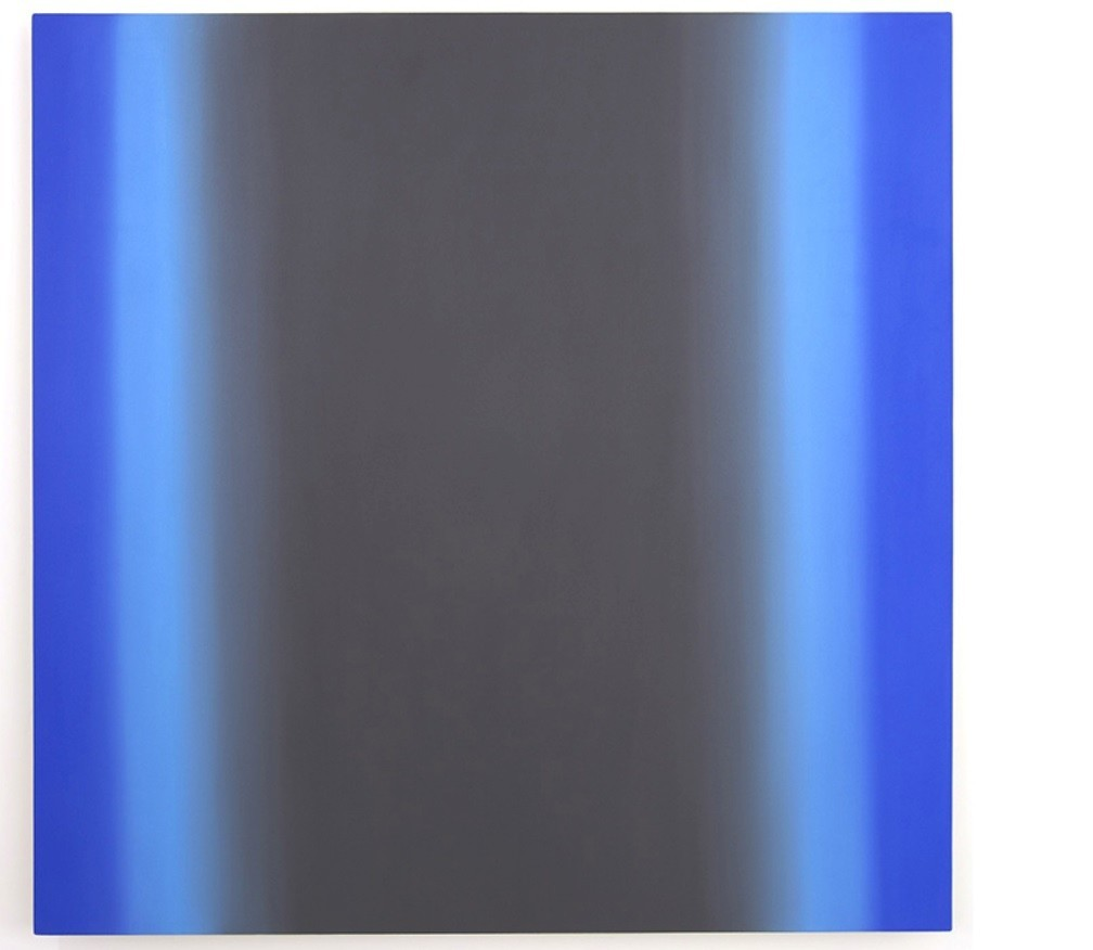 """Ruth Pastine's """"Blue Orange 15-S6060 (Gray Blue Light),"""" oil on canvas on beveled stretcher, 60 inches by 60 inches by 3 inches."""
