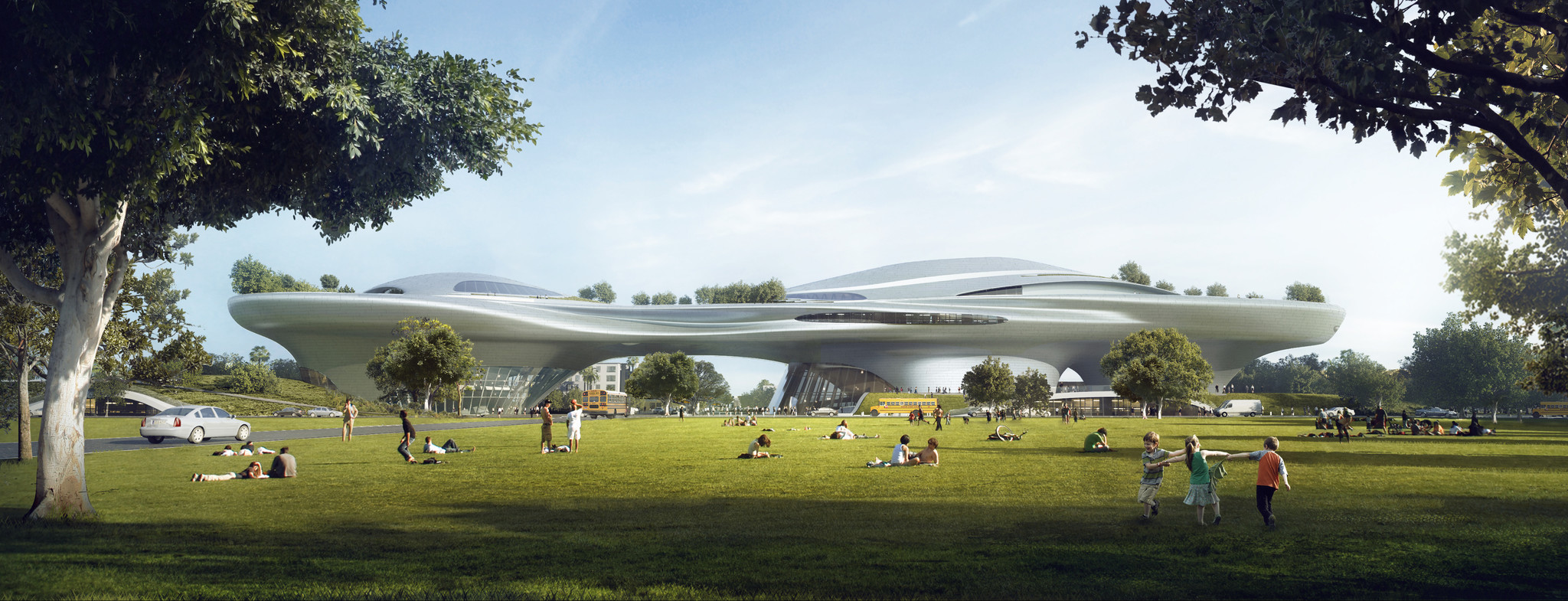 Ma Yansong's Exposition Park design for the Lucas Museum of Narrative Art would have parkland at the museum's feet.