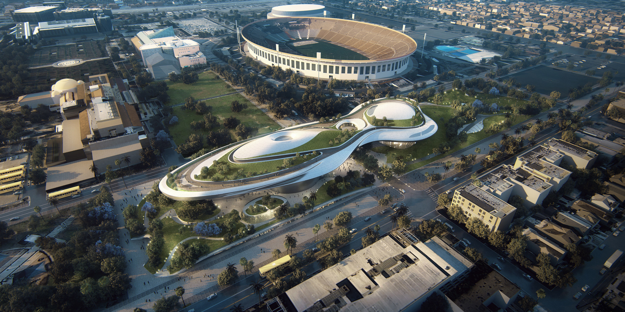 The Lucas Museum proposal for Exposition Park, with the Coliseum lying beyond it.