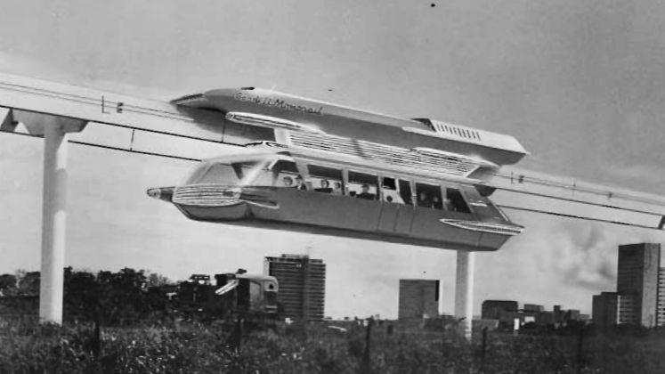 Rendition of an early monorail prototype for Los Angeles.