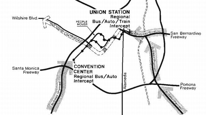 An early map of a proposed people mover in downtown L.A.
