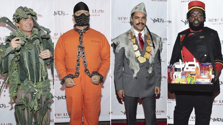Kyle MacLachlan, left, Ice-T, Trevor Noah and Questlove arrive at Heidi Klum's Halloween party.