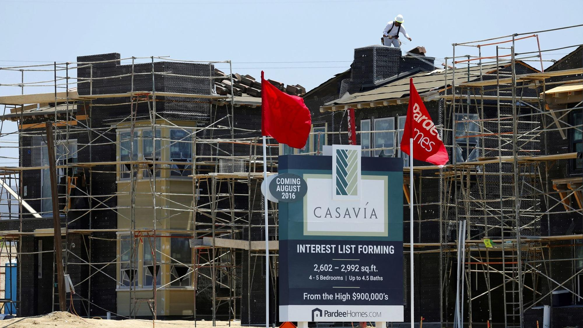 San Diego housing is expensive but still affordable to certain buyers because of rising wages.Construction of single family homes by Pardee Homes is seen in San Diego, California