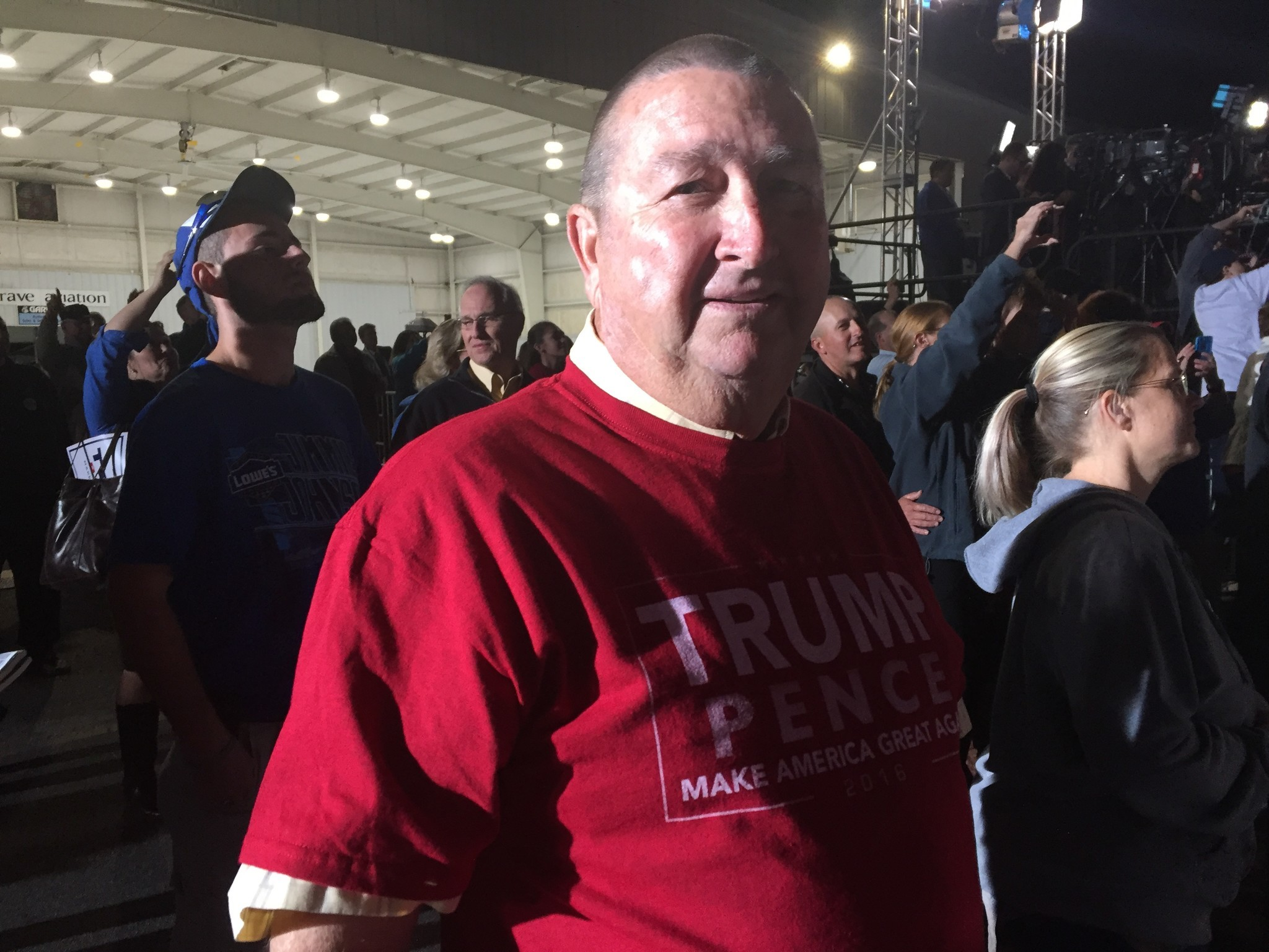 Eddie Creech, a tobacco, corn and bean farmer, attends a Donald Trump rally in Kinston, N.C.