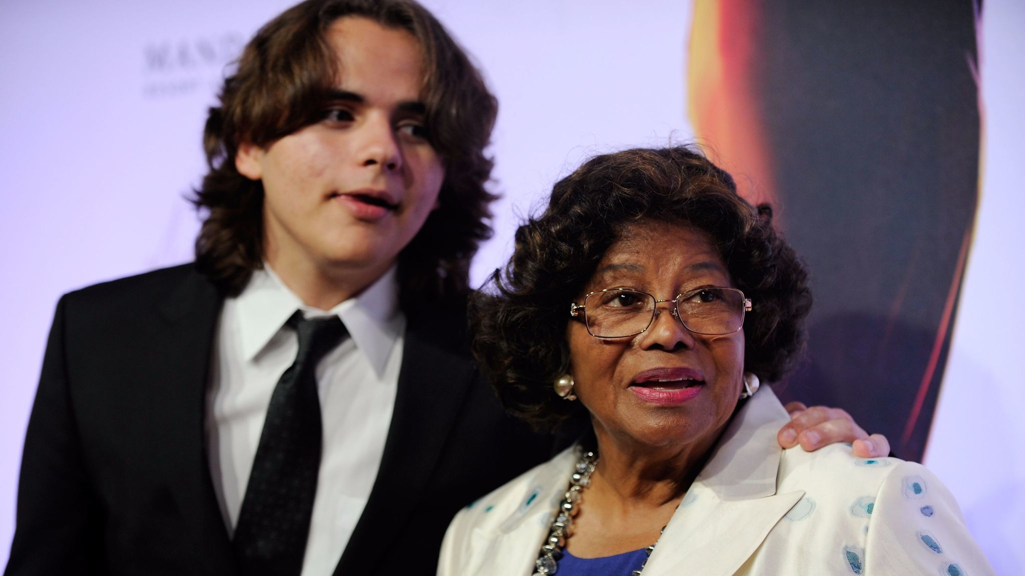 Prince Jackson, left, and Katherine Jackson arrive at the world premiere of