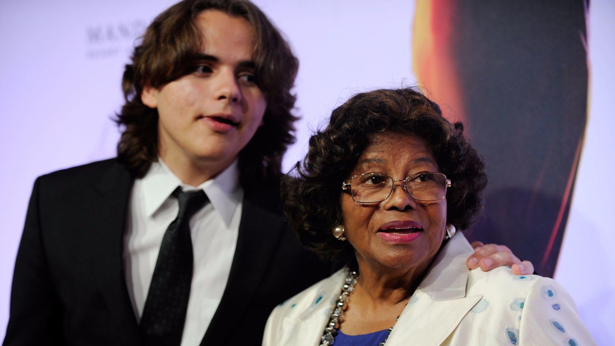 Prince Jackson, left, and Katherine Jackson arrive at the world premiere of