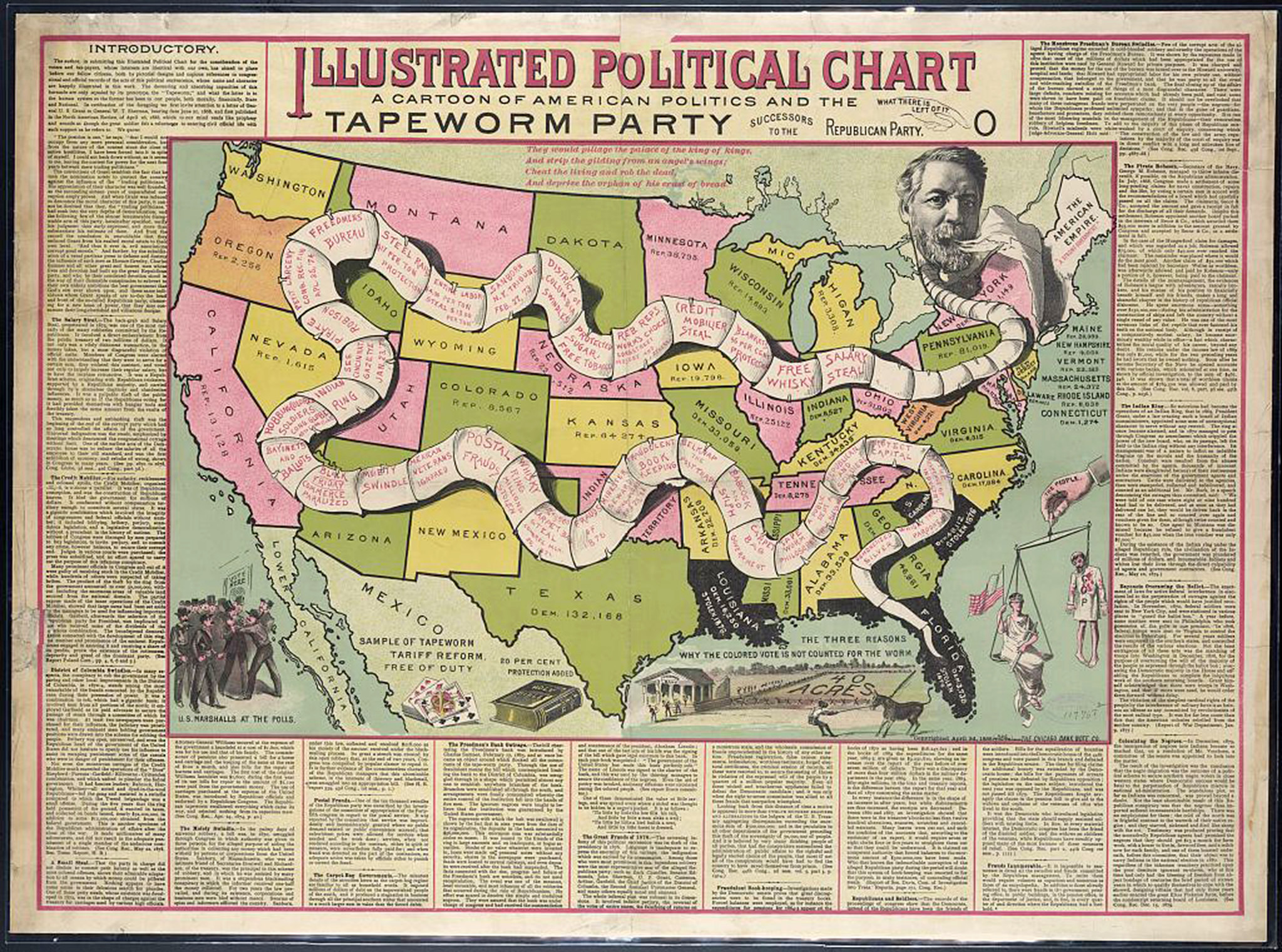 Even before TV, electoral maps were an American obsession. This satirical cartoon from May 1888 depicts the Tapeworm Party, with Republican primary candidate James Blaine as head of the worm.