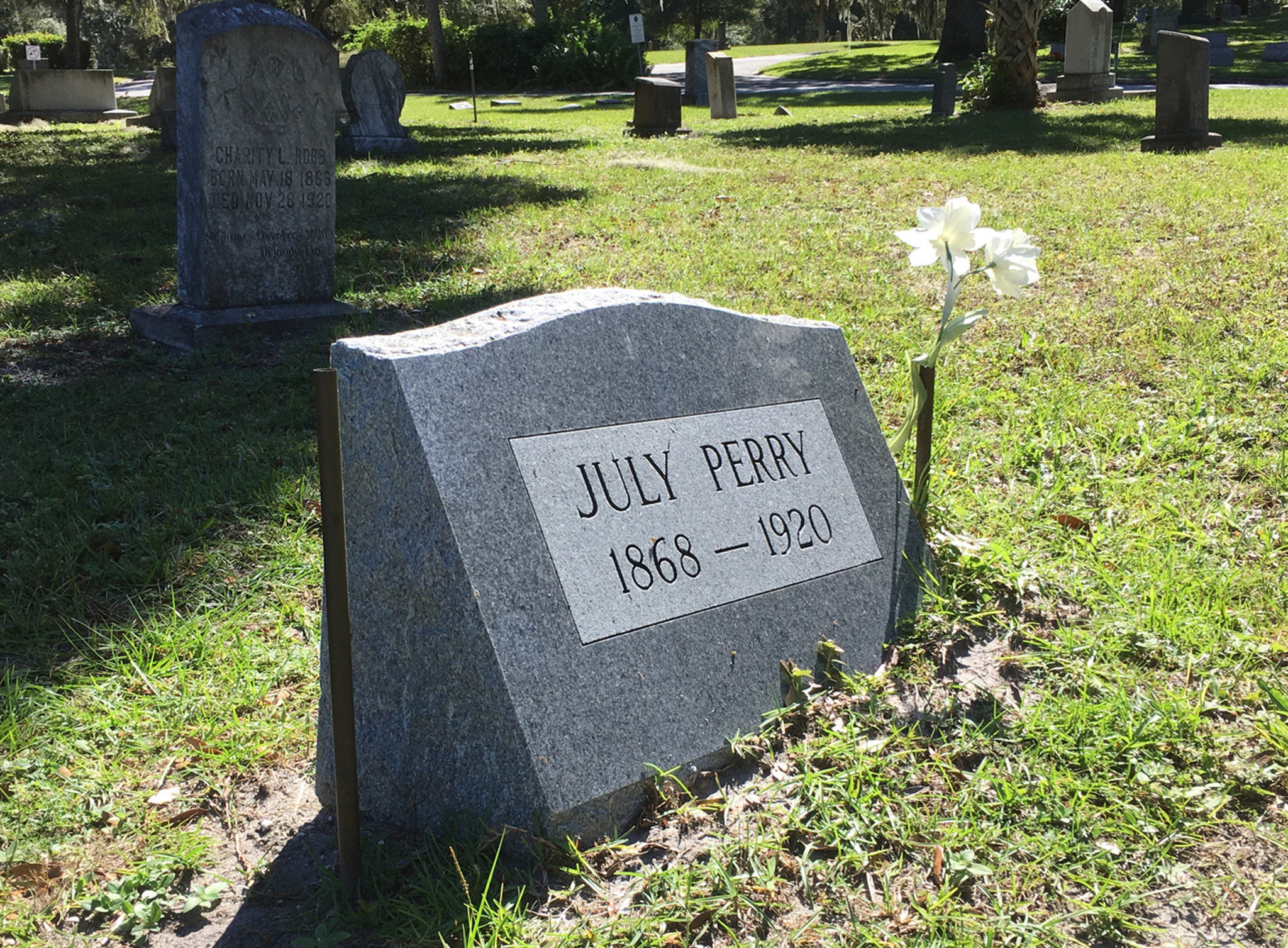 Headstone For July Perry At Greenwood Cemetery Riches: Fear Ruled Election Day In Orange County, 1920