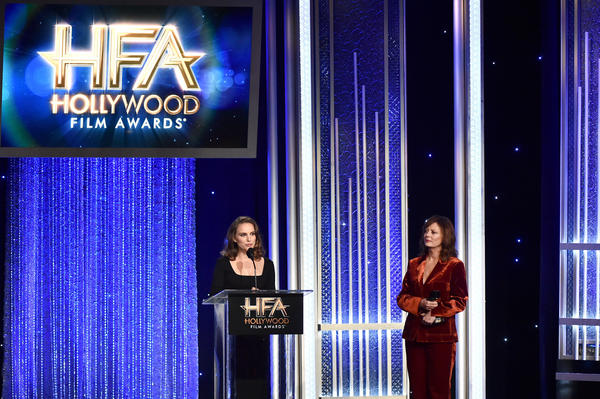 "Natalie Portman, recipient of the Hollywood Actress Award for ""Jackie,"" left, and presenter Susan Sarandon speak onstage at the 20th Hollywood Film Awards."