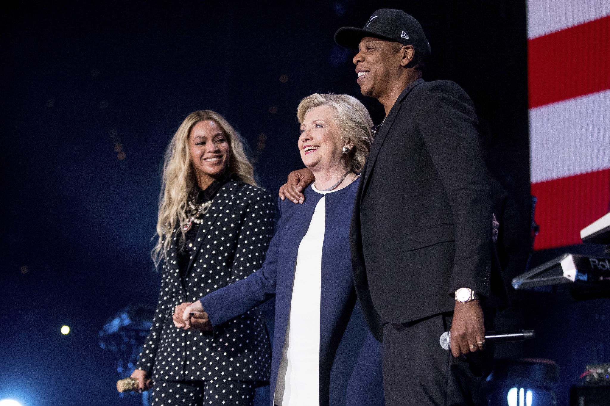 Clinton with Beyonc and Jay Z during a free concert at at the Wolstein Center in Cleveland on Nov. 4.