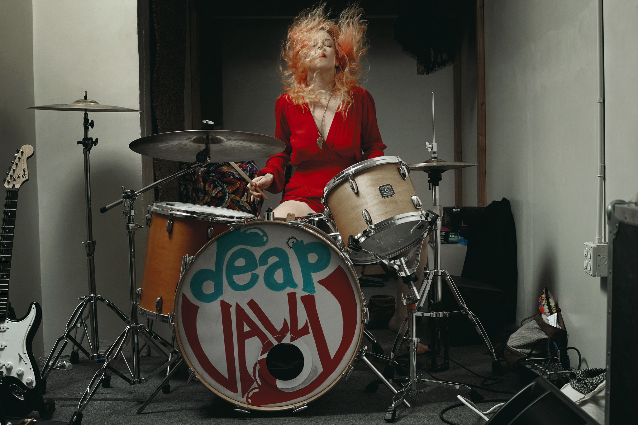 Julie Edwards, the drummer of L.A. rock duo Deap Vally, is pictured in her studio in