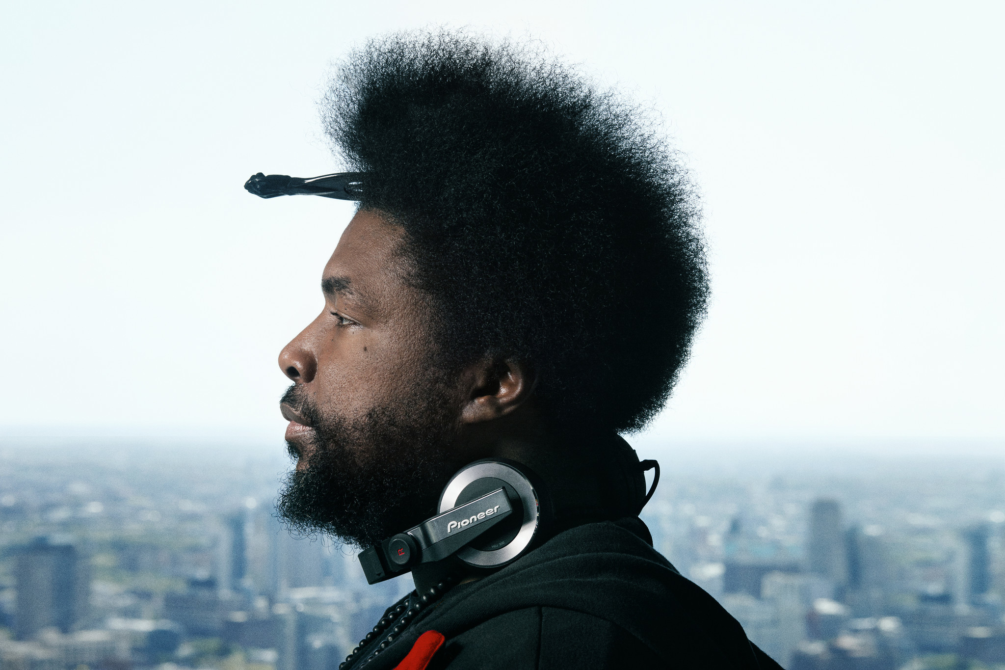"A portrait of drummer, percussionist, DJ and record producer Questlove from the Roots is in Deirdre O Callaghan's new book, ""The Drum Thing."""