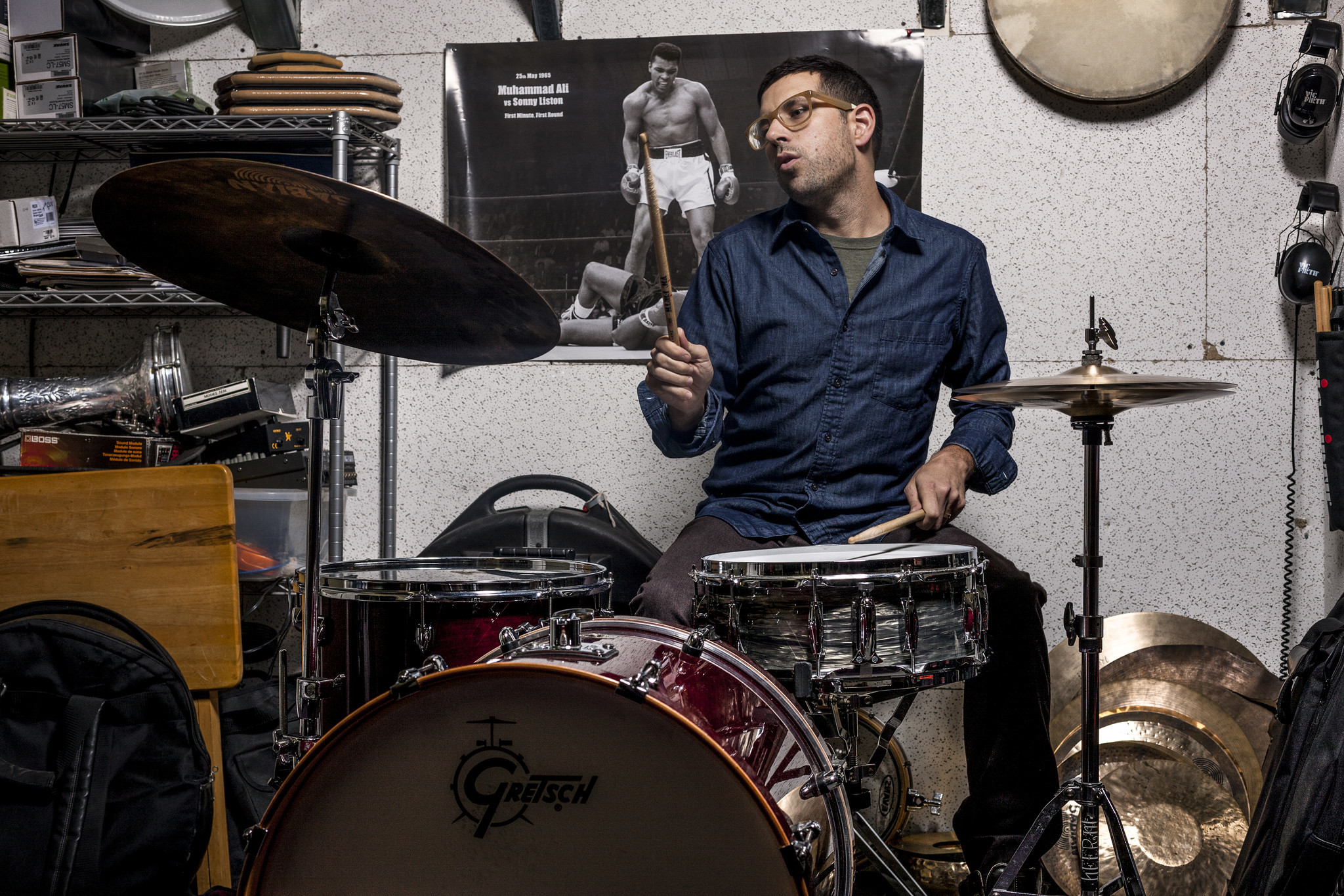 Drummer Mark Guiliana from Beat Music is pictured in his studio.
